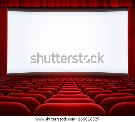 cinema big screen with red curtain frame and seats - stock photo