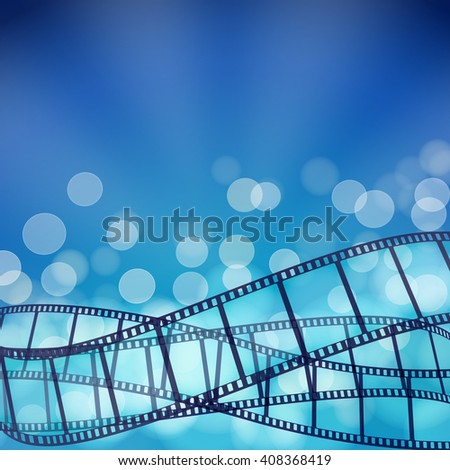 cinema blue background with film strips and light rays. raster illustration - stock photo