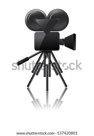 cinema camera icon on a white background - stock photo