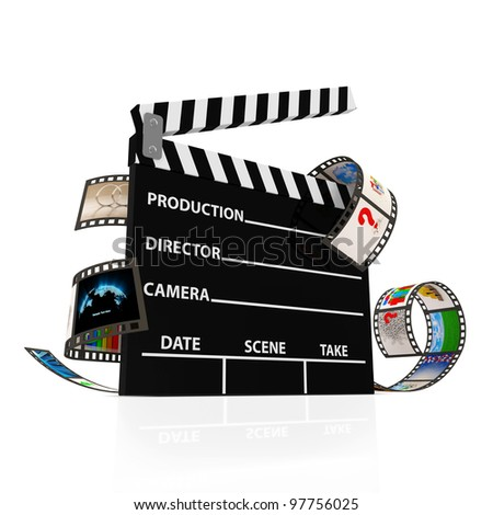 Cinema Clap with Film Strip isolated on white background - stock photo