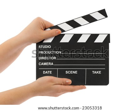 Cinema clapboard in hands isolated on white background - stock photo