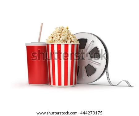 Cinema concept: film reels, popcorn, cola,3d illustration - stock photo