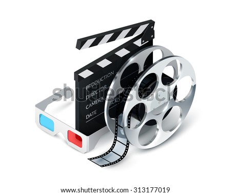 Cinema concept realistic with 3d glasses film strip clapper decorative icons  illustration