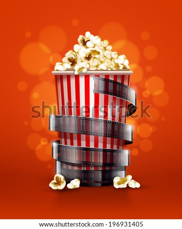 cinema concept with paper bucket with popcorn and film tape . Rasterized illustration. - stock photo