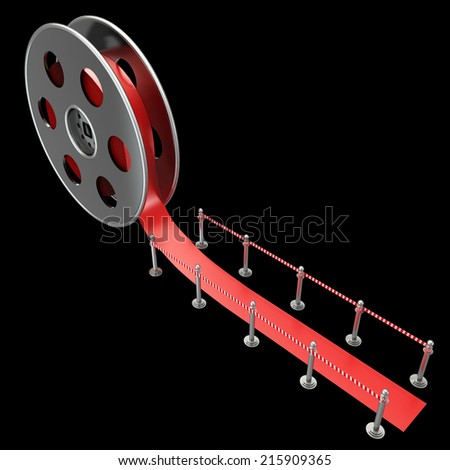 Cinema film roll and red carpet. isolated on black background. 3d illustration  - stock photo