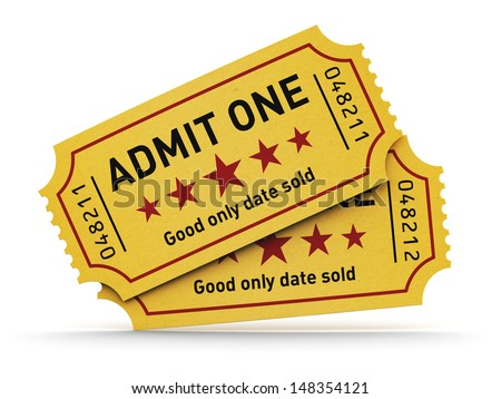 Cinema industry entertainment, film production and movie premiere concept: group of yellow tear-off tickets with Admit One text isolated on white background - stock photo