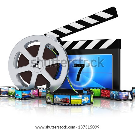 Cinema, movie, film and video media industry production concept: clapper board, metal film reel and filmstrip with colorful pictures isolated on white background with reflection effect - stock photo