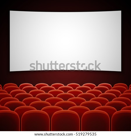 Cinema movie hall with white blank screen. Empty interior for presentation new film. illustration