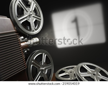 Cinema, movie or video concept. Vintage projector with projecting blank and reels of film. 3d - stock photo