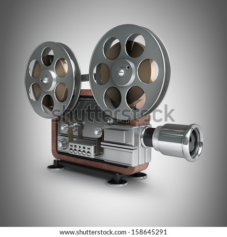 cinema projector old-fashioned. High resolution. 3D image