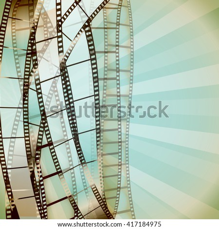 cinema retro background with film strips. raster - stock photo