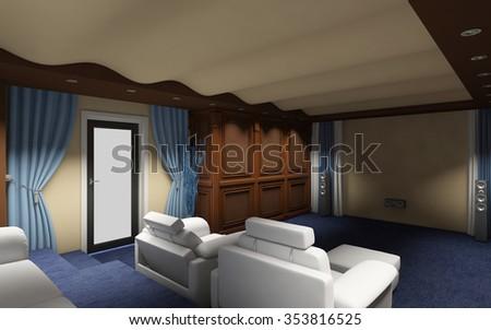 cinema room furniture.  cinema cinema room in private house 3d rendering throughout cinema room furniture