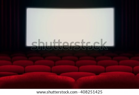 Cinema screen and red seats - stock photo