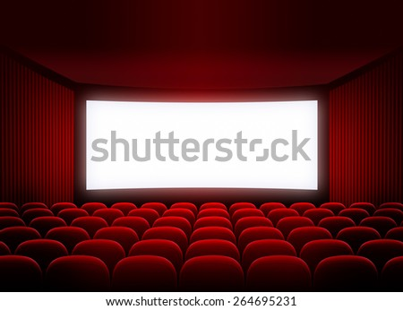 cinema screen in red audience - stock photo