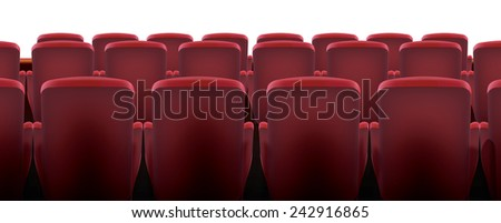 Cinema Seating. Classic red cinema or theatre seating, these seats show the backrest and handles.