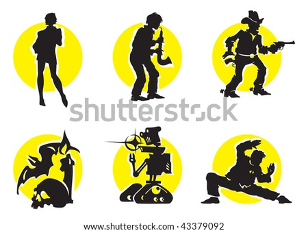 Cinema Silhouettes Icons in the different genres - stock photo