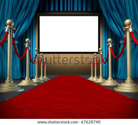 cinema stage blank blue curtains red carpet display
