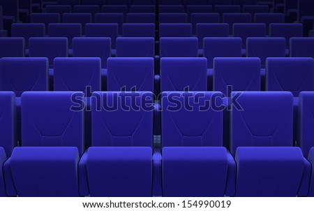 cinema stage seats (sound system, spectacular lighting, upholstered in blue fabric) - stock photo