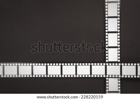 Cinema stripes on a black background with copy space - stock photo