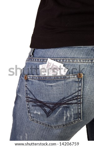 Cinema/Theatre Tickets in rear pocket of fit woman in blue jeans on white background