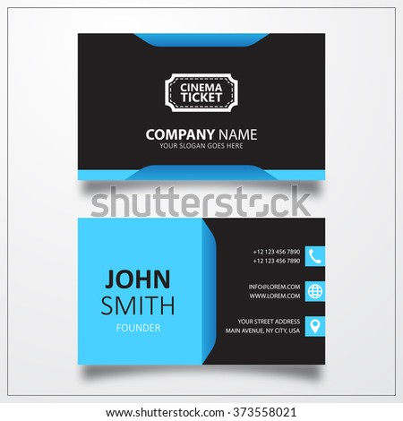 Cinema ticket sign icon. Business card vector template. - stock photo