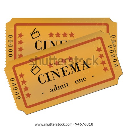 Cinema Tickets Isolated on White - stock photo