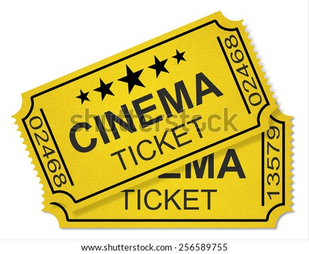 cinema tickets isolated on white background - stock photo