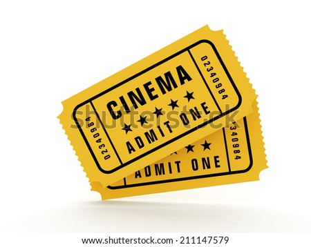 Cinema tickets isolated on white reflective background.