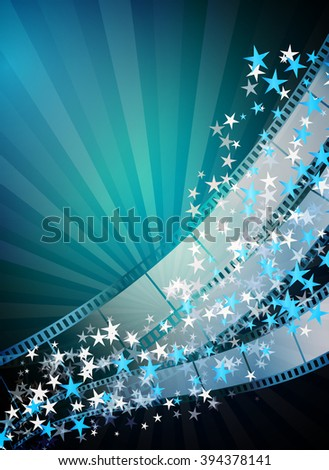 Cinema vertical abstract background with film strips, flying stars, rays. Raster version - stock photo