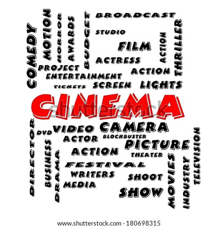 Cinema Word Cloud Concept in Bold Letters with great terms such as camera, movie, show, video and more.