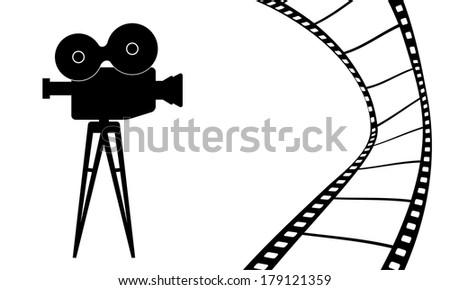 Cinematography camera and cinema movie illustration - stock photo