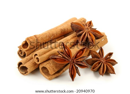 Cinnamon and anise isolated on white background - stock photo
