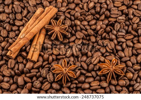 Cinnamon and anise on a background of coffee beans - stock photo