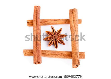 cinnamon and anise on a white background