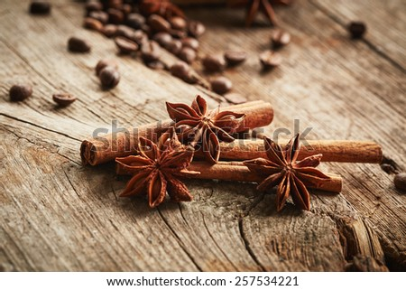Cinnamon and anise on wooden background - stock photo