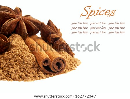Cinnamon and anise stars - background  - stock photo