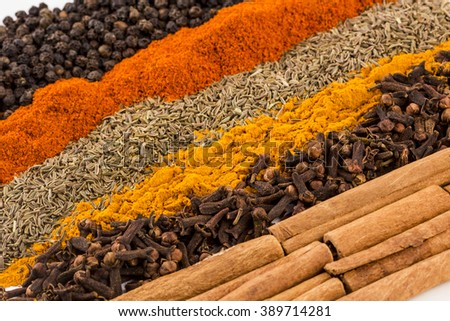 Cinnamon and other spices textures - stock photo