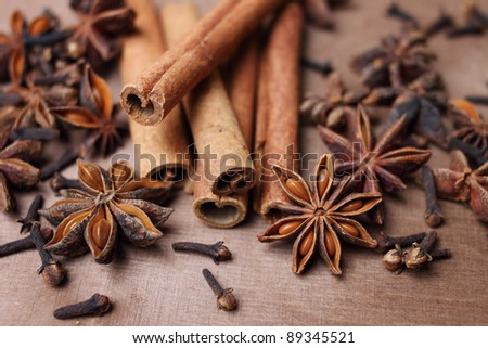 cinnamon, anise and clove - stock photo