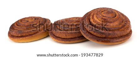 Cinnamon buns isolated on white background - stock photo