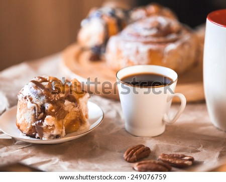 cinnamon cake with coffee - stock photo