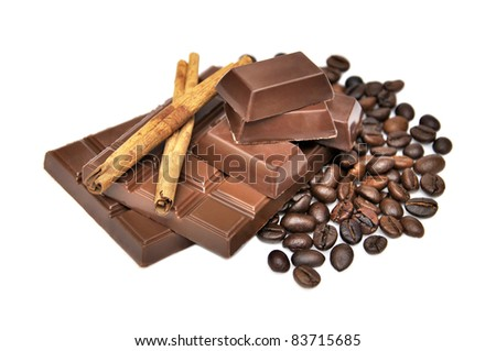 cinnamon, chocolate and coffee beans isolated on white background - stock photo