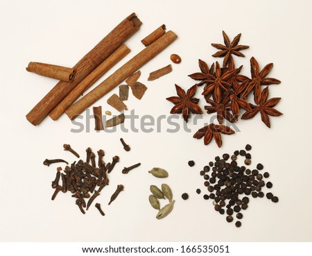 Cinnamon, clove, anise and other condiments for punch - stock photo