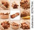 cinnamon collage - stock photo