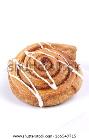 cinnamon danish isolated on white background. - stock photo
