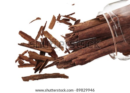 Cinnamon in a glass jar on white background - stock photo