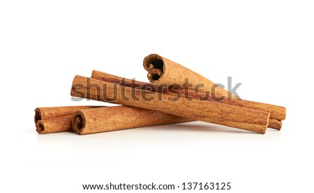cinnamon isolated on white background - stock photo