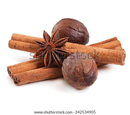 cinnamon, nutmeg and star anise isolated on white background - stock photo