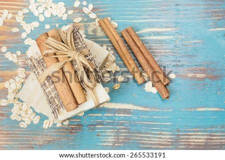 Cinnamon Oatmeal Soap. Aromatic spa. Handmade Cinnamon Oatmeal Soap. Macro, selective focus - stock photo