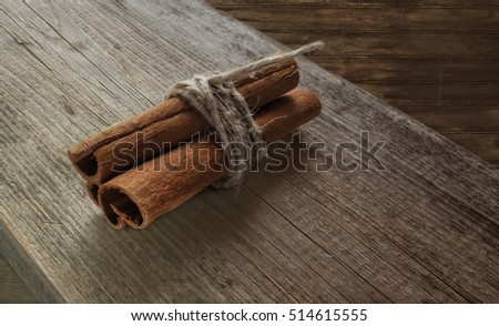 Cinnamon on the wooden table