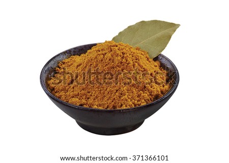Cinnamon powder in a bowl isolated on white background. - stock photo